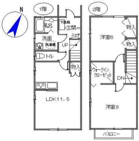 1階と2階が使えるメゾネットタイプ