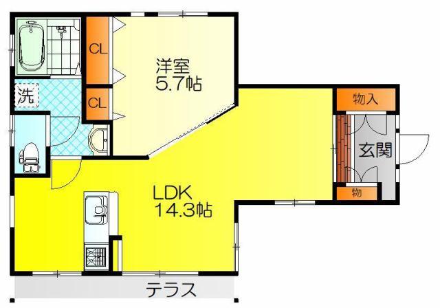 石田貸家(1階)の間取り