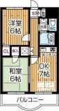 最上階の2DK(専有面積43.74㎡)
