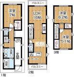 LDKは対面式キッチンでリビングには便利な収納有り