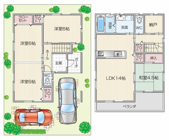 貝塚市脇建物プラン例です。設計変更無料でできます。