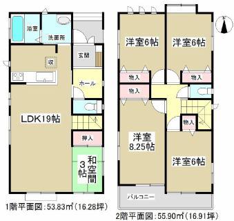 Layout of 4, Hojin, Minato-ku A ridge 4-1902, Hojin, Minato-ku, Nagoya-shi 4SLDK 4, Hojin, Minato-ku A ridge