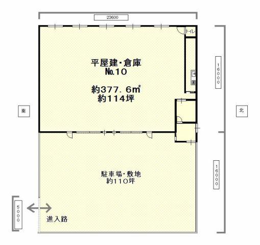 株式会社かとうホーム 間取り 倉庫・約114坪 駐車場(敷地)約110坪