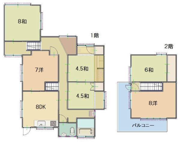 有限会社グローバル住宅 間取り 高知市高須西町 6DK 中古戸建の間取り