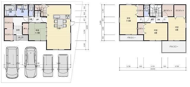有限会社グローバル住宅 間取り 高知市東城山町 3台駐車可 南向き 新築戸建の間取り