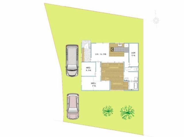 有限会社グローバル住宅 間取り 高知市長浜 3台駐車可 平屋戸建の間取り