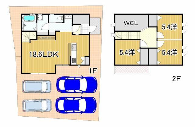 有限会社グローバル住宅 間取り 高知市朝倉己 4台駐車可 中古戸建の間取り