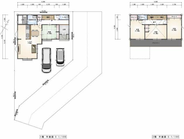 有限会社グローバル住宅 区画図 高知市東城山 新築 B号地の区画図