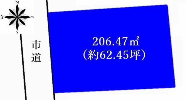 有限会社グローバル住宅 区画図 高知市福井町 売り土地 高台 建築条件なし 約62坪の区画図