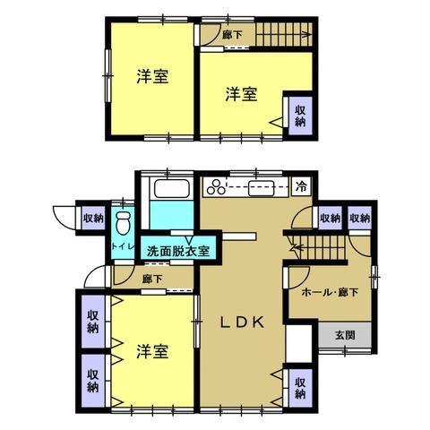 有限会社グローバル住宅 間取り 全室洋間へリフォーム、玄関ホールが広く解放感あり