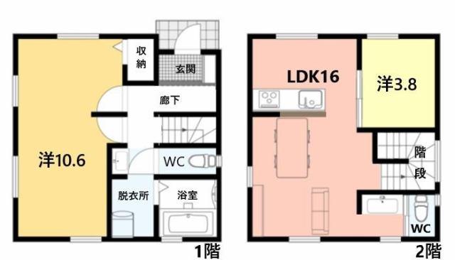 有限会社グローバル住宅 間取り 高知市中万々 コンパクトな新築住宅の間取り
