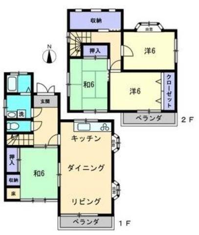 有限会社グローバル住宅 間取り 高知市神田 中古戸建 4LDK 高台の間取り