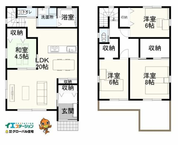 有限会社グローバル住宅 間取り 高知市朝倉本町新築住宅 角地 南向き 4LDKの間取り