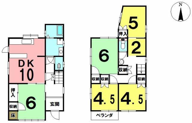 有限会社グローバル住宅 間取り 高知市薊野北町 中古住宅 5SDKの間取り