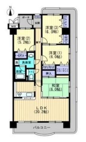 有限会社グローバル住宅 間取り 高知市横浜 サントノーレ横浜 4LDKの間取り