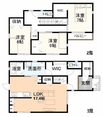 有限会社グローバル住宅 間取り 高知市西秦泉寺 日当たりのいい築浅中古住 3LDKの間取り