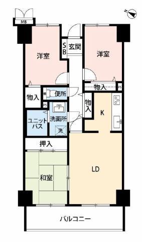 有限会社グローバル住宅 間取り 高知市一宮南町 サーパスシティー高知 3LDKの間取り