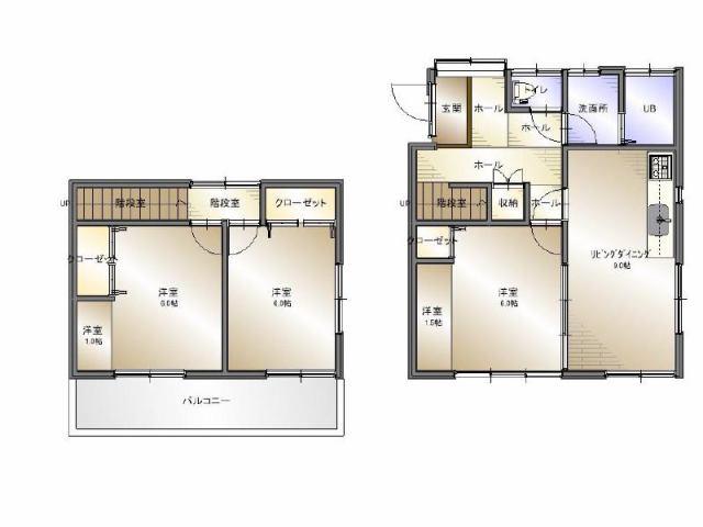 有限会社グローバル住宅 間取り 高知市横浜 中古住宅 内外リフォーム 3LDKの間取り