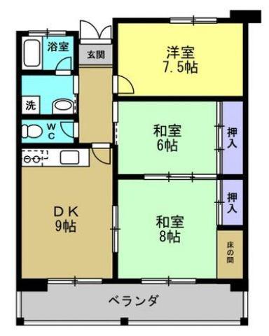 有限会社グローバル住宅 間取り 高知市中の島 中の島マンション 3LDKの間取り