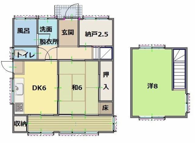 有限会社グローバル住宅 間取り 高知市仁井田 中古住宅 2DK オール電化の間取り