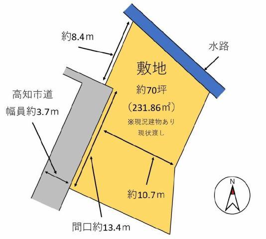 有限会社グローバル住宅 区画図 高知市佐々木町 売り土地 約70坪の区画図