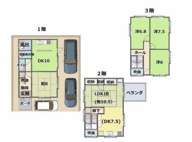 有限会社グローバル住宅 間取り 高知市介良乙 中古住宅 フルリフォーム 3台駐車可の間取り