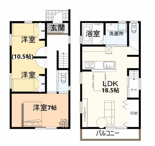 有限会社グローバル住宅 間取り 高知市西久万 耐震等級3相当の2LDK新築住宅の間取り