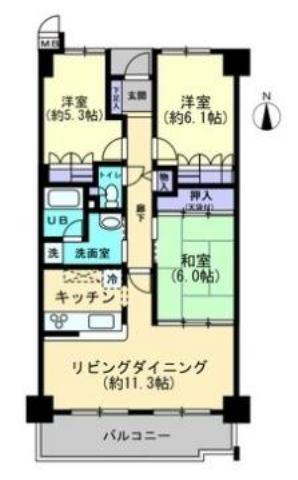 有限会社グローバル住宅 間取り 高知市神田 サーパス神田公園 3LDKの間取り