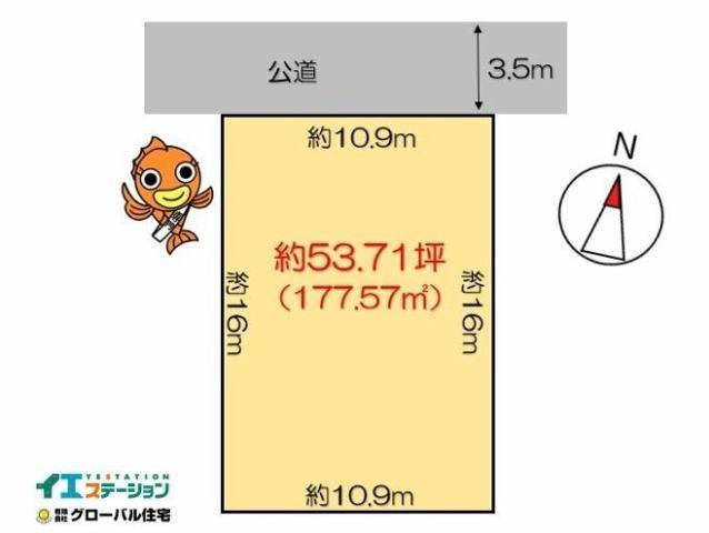 有限会社グローバル住宅 区画図 高知市朝倉丙 約53坪 日当たり良好 整形地の区画図