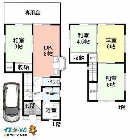 有限会社グローバル住宅 間取り 高知市中久万 中古住宅 4DKの間取り