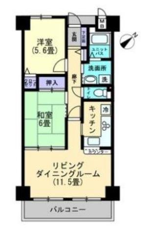 有限会社グローバル住宅 間取り 高知市桟橋通 アルファステイツ桟橋通りII 2LDKの間取り
