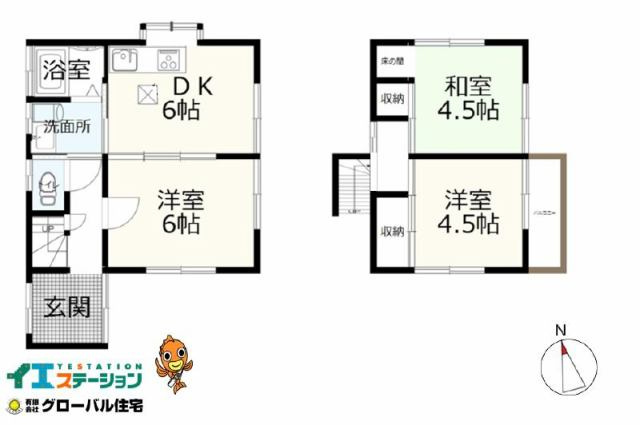 有限会社グローバル住宅 間取り 高知市一宮西町 リフォーム中古住宅 3DKの間取り