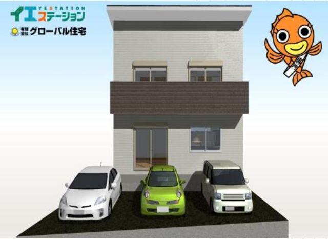 有限会社グローバル住宅 外観写真 高知市旭天神町 新築住宅 並列3台駐車可 4LDKの外観写真