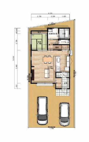 有限会社グローバル住宅 区画図 高知市介良乙 新築住宅 オール電化 4LDKの区画図