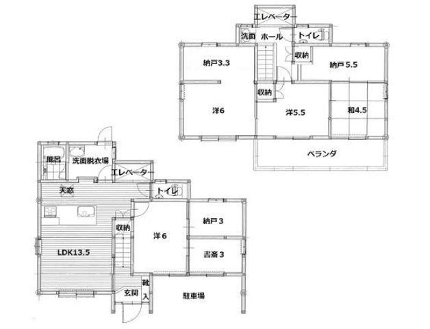 有限会社グローバル住宅 間取り 高知市昭和町 駅近くエレベーター付き便利な中古住宅の間取り