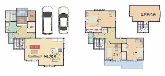 有限会社グローバル住宅 間取り 高知市神田 新築住宅 屋根裏収納 3LDKの間取り