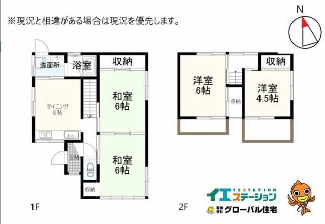 有限会社グローバル住宅 間取り 高知市中秦泉寺 中古住宅 津波被害想定外 4DKの間取り