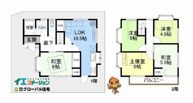 有限会社グローバル住宅 間取り 高知市西久万 中古住宅 5LDK 3台駐車可能の間取り