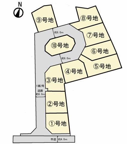 (区画図)50坪の広々敷地!広々前面道で駐車もスムーズ♪
