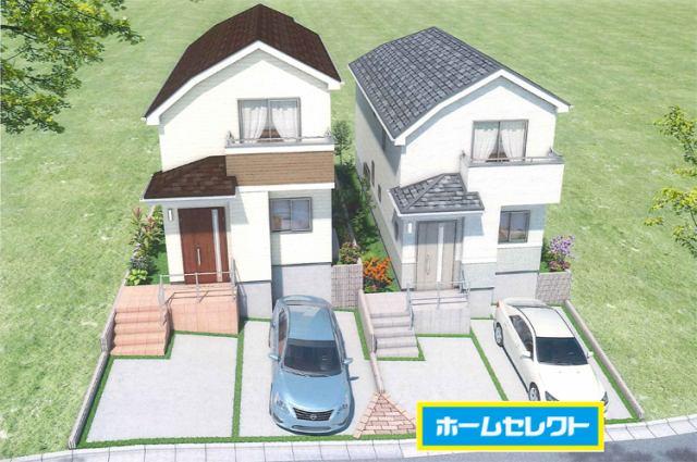(外観完成パース)前面道広々で駐車もスムーズ♪並列2台OK!